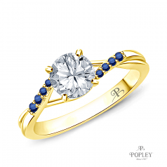 Delicate Tapered Pave Sapphire Engagement Ring Semi Mount in Yellow Gold