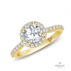 A Beautiful Halo Diamond Engagement Ring Semi Mount in Yellow Gold