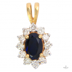 Popley Colours Of Joy Diamond Pendant in Yellow Gold with Colour Stone