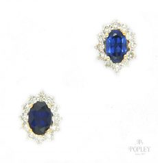 Popley Colours Of Joy Diamond Earring in White Gold with Colour Stone