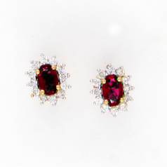 Popley Colours Of Joy Diamond Earring in Yellow Gold with Colour Stone