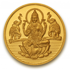 Popley 24Kt Yellow Gold 999 Purity 20 Gram Coin with Goddess Lakshmi Design