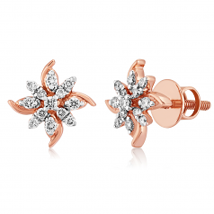 VFM 14K Rose Gold Diamonds Stud Earrings - VFM489