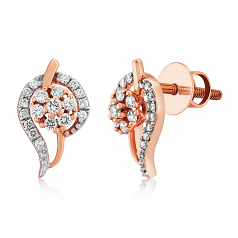 VFM 14K Rose Gold Diamonds Stud Earrings - VFM494