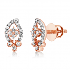 VFM 14K Rose Gold Diamonds Stud Earrings - VFM491