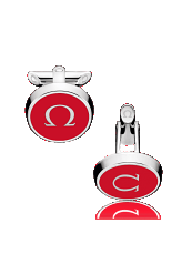 OMEGA CUFFLINKS Stainless steel and red lacquer - C91STA0206405