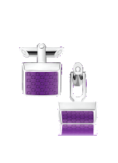 OMEGA CUFFLINKS Stainless steel and violet resin - CA02ST0000305