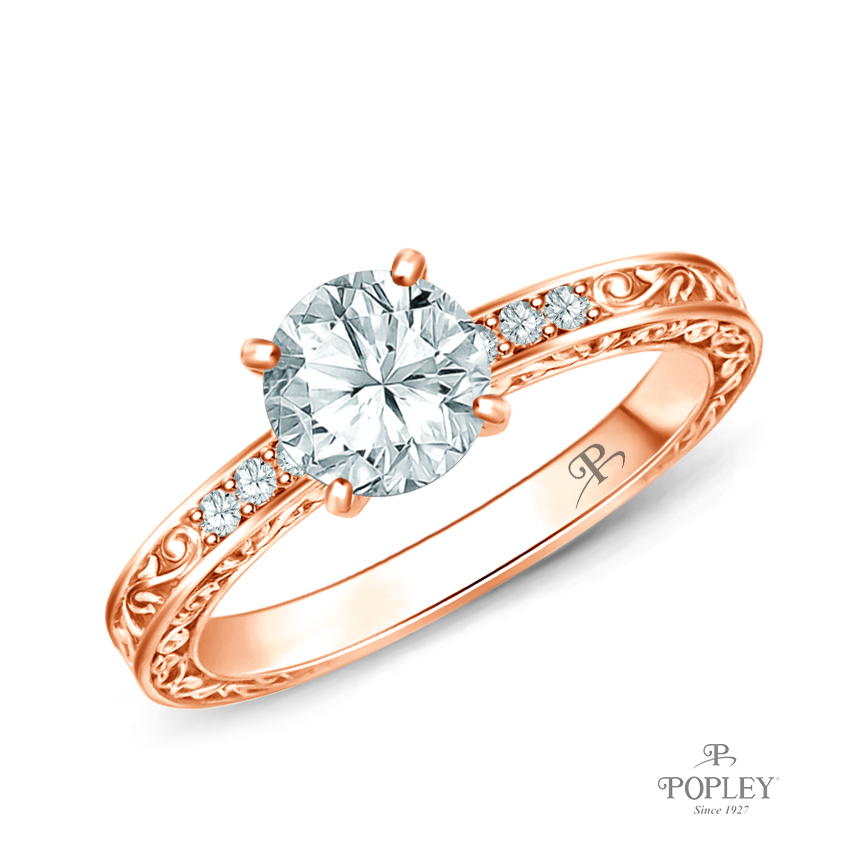 Antique Scroll Engraving Engagement Ring Semi Mount in Rose Gold