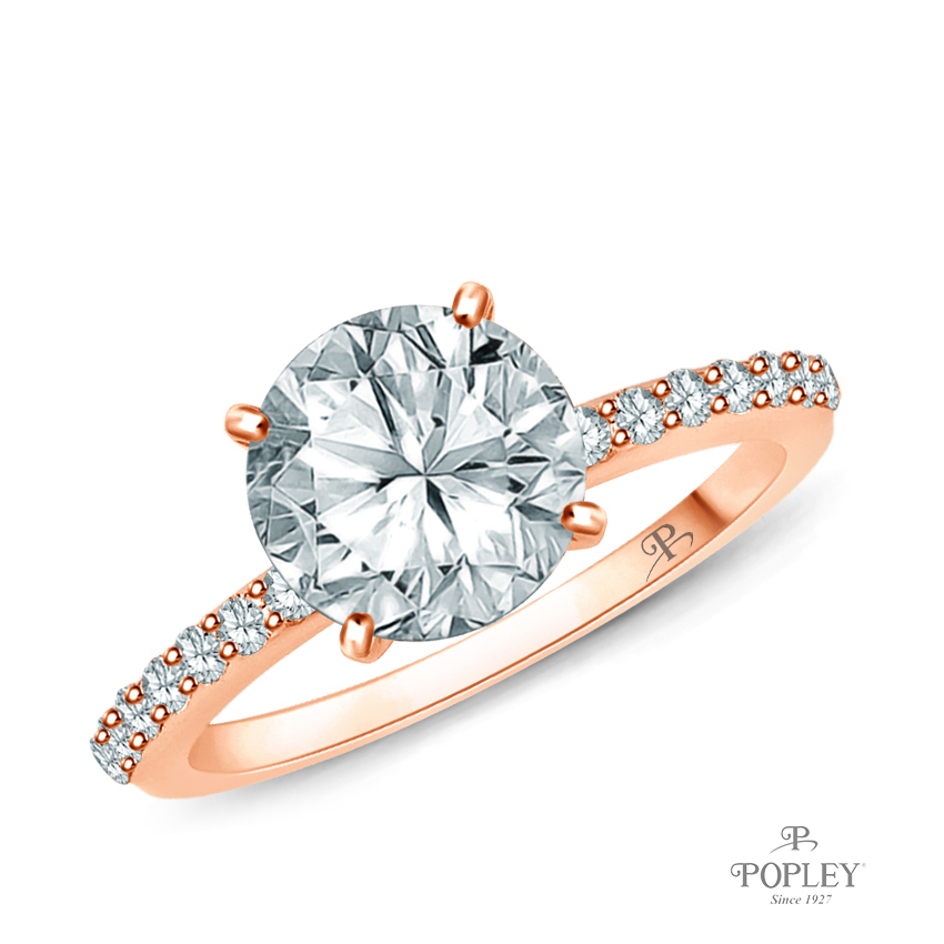 Half Way Accents Diamond Engagement Ring Semi Mount in Rose Gold