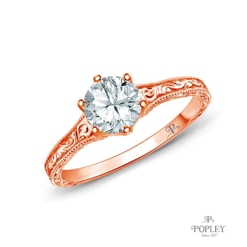 A Truly Vintage Hand Engraved Milgrain Engagement Setting Semi Mount in Rose Gold