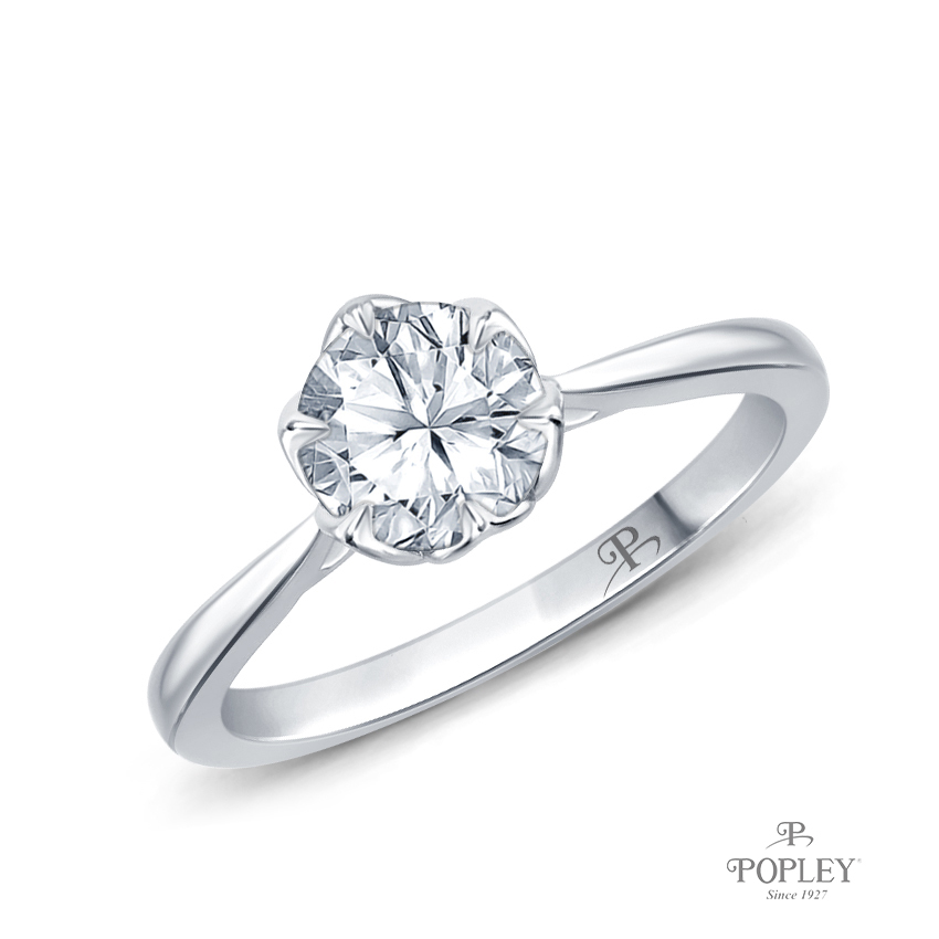 Solitaire Ring Claw Prong Flower Petal Basket Design Semi Mount in White Gold