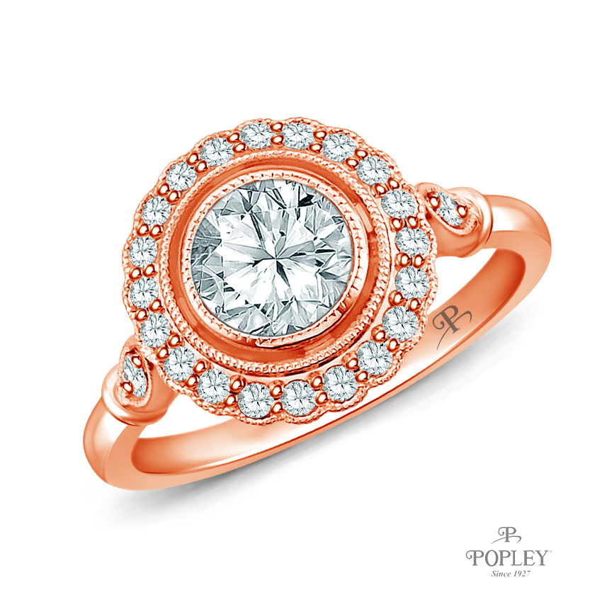 Halo Accents With Intricate Milgrain Design Setting Semi Mount in Rose Gold