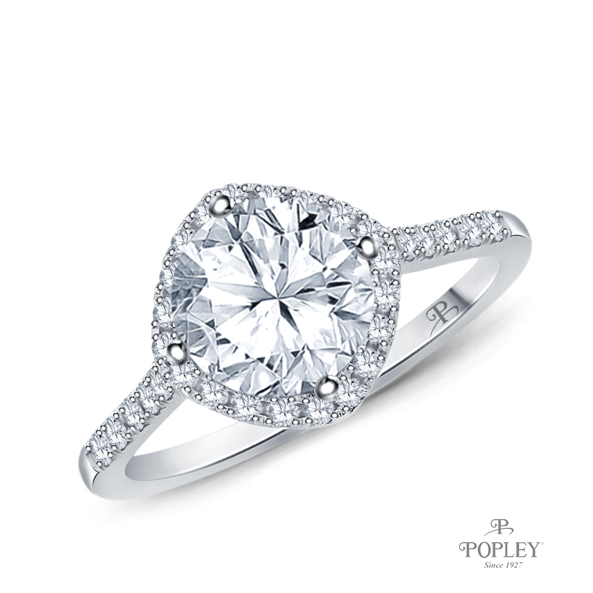Kite Style Halo Accent Diamond Engagement Ring Semi Mount in White Gold