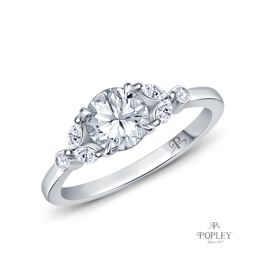 Nature Inspired Leave Design Marquise and Round Side Stones Engagement Ring Semi Mount in Platinum