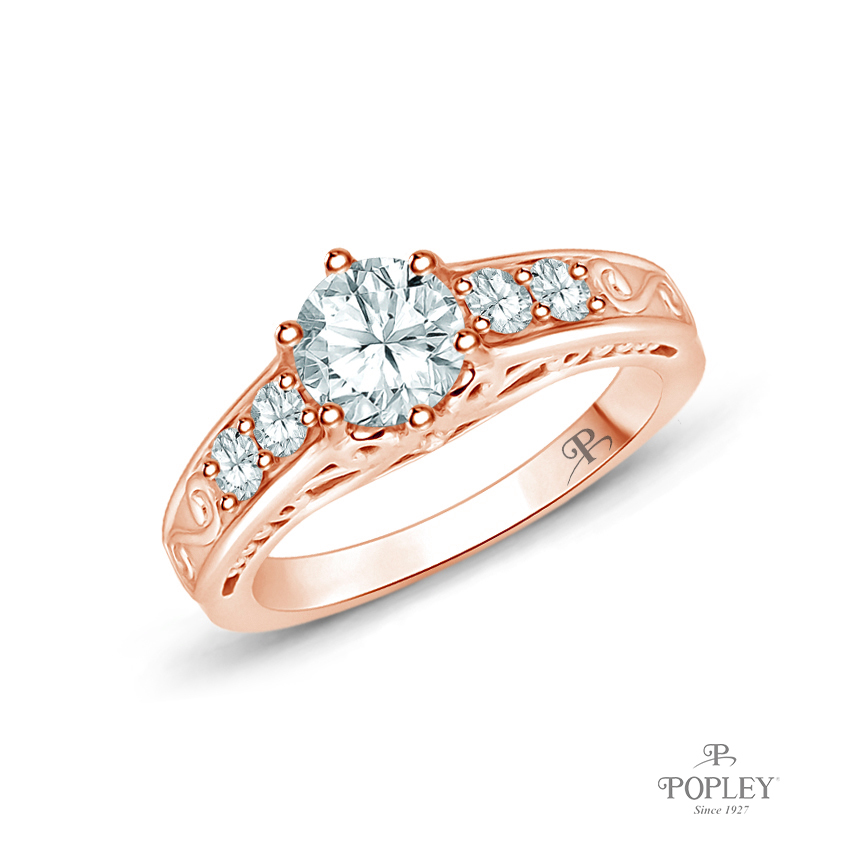 Scroll Filigree Accent Diamond Engagement Ring Semi Mount in Rose Gold