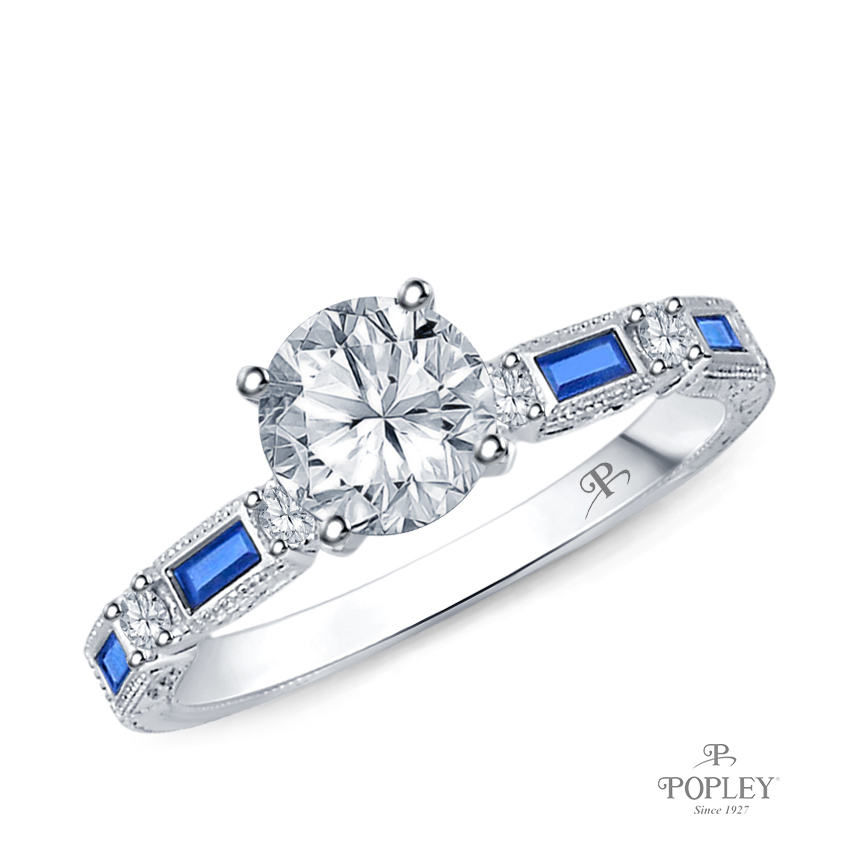 Baguette Sapphire and Round Diamond Accents Ring Semi Mount in White Gold