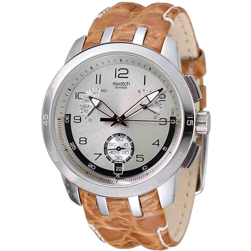 Swatch Mens Sand Structure Cream Dial Chronograph Watch YRS401
