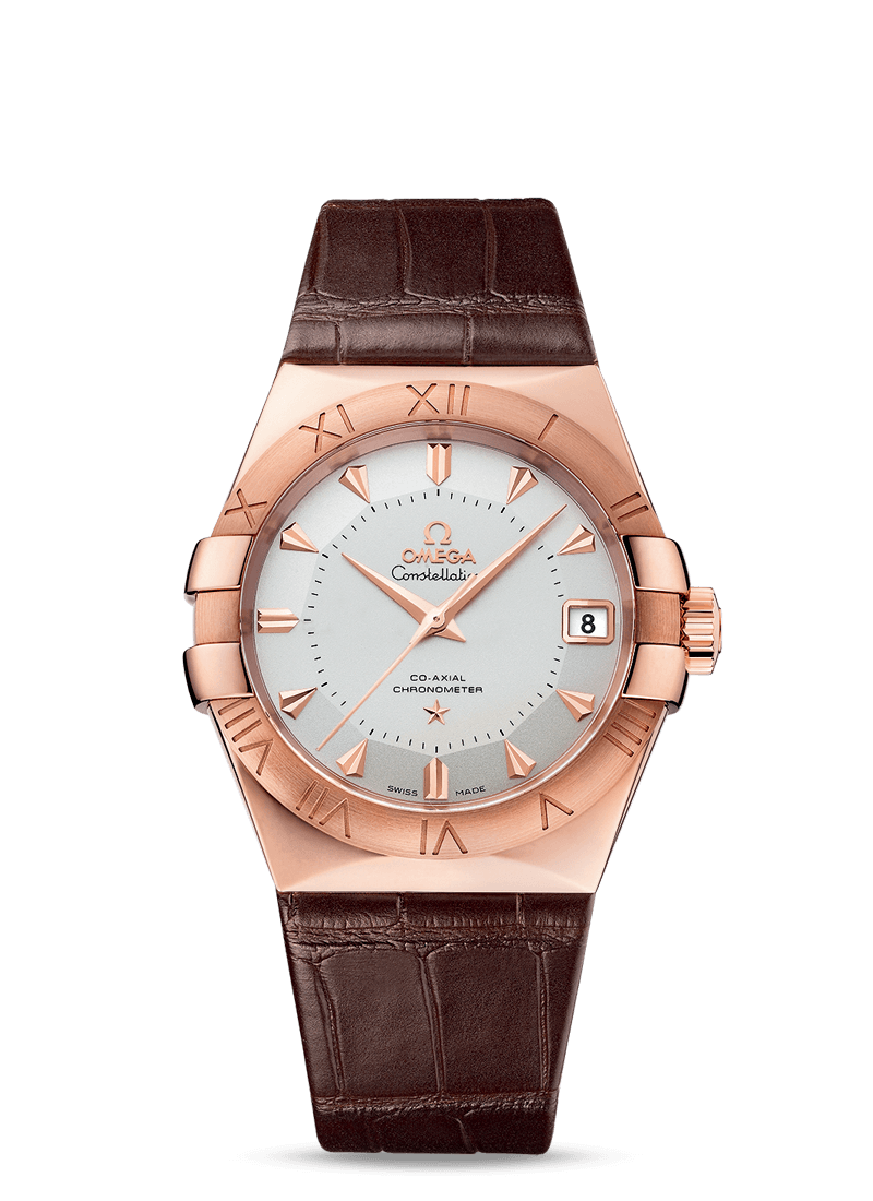 Omega Constellation OMEGA CO-AXIAL 38 MM  Sedna gold on leather strap - 123.53.38.21.02.001