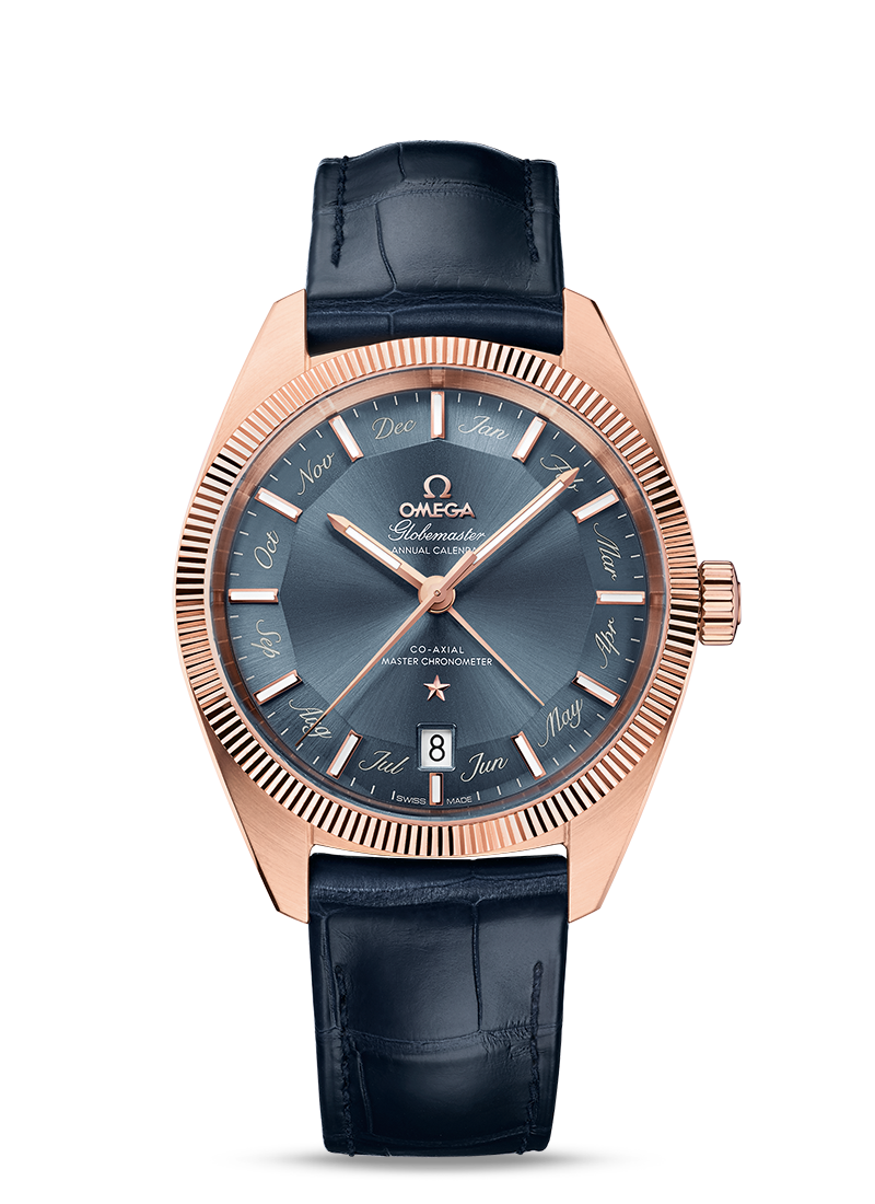 Omega Constellation GLOBEMASTER OMEGA CO-AXIAL MASTER CHRONOMETER ANNUAL CALENDAR 41 MM Sedna gold on leather strap - 130.53.41.22.03.001