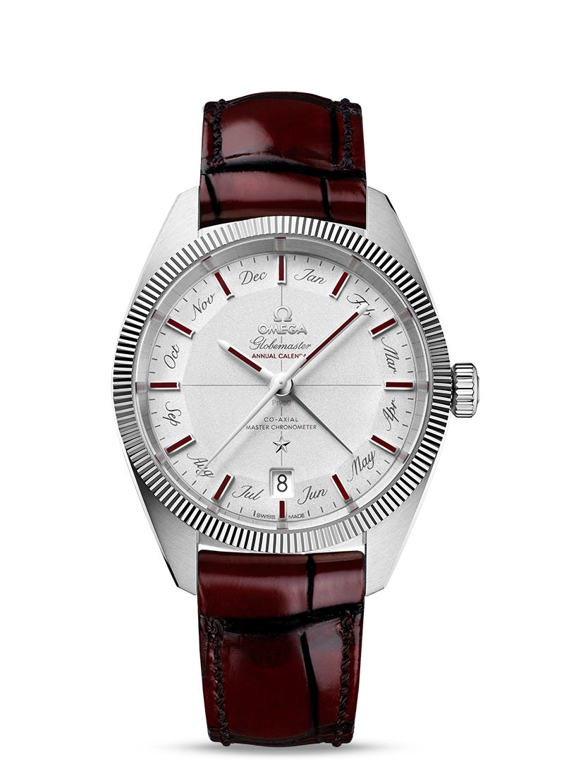 OMEGA Collection GLOBEMASTER CO-AXIAL MASTER CHRONOMETER ANNUAL CALENDAR 41 MM Platinum on leather strap - 130.93.41.22.99.001