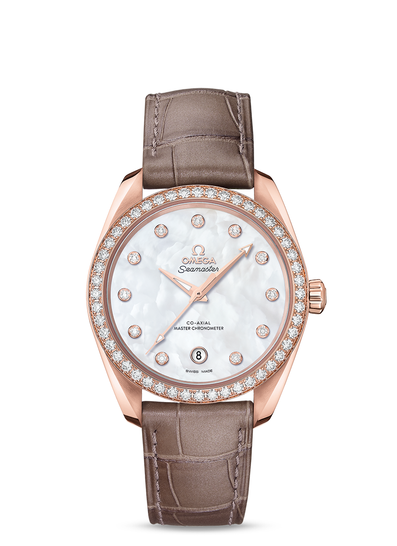 Omega Seamaster AQUA TERRA 150M CO-AXIAL MASTER CHRONOMETER LADIES' 38 MM Sedna gold on leather strap - 220.58.38.20.55.001