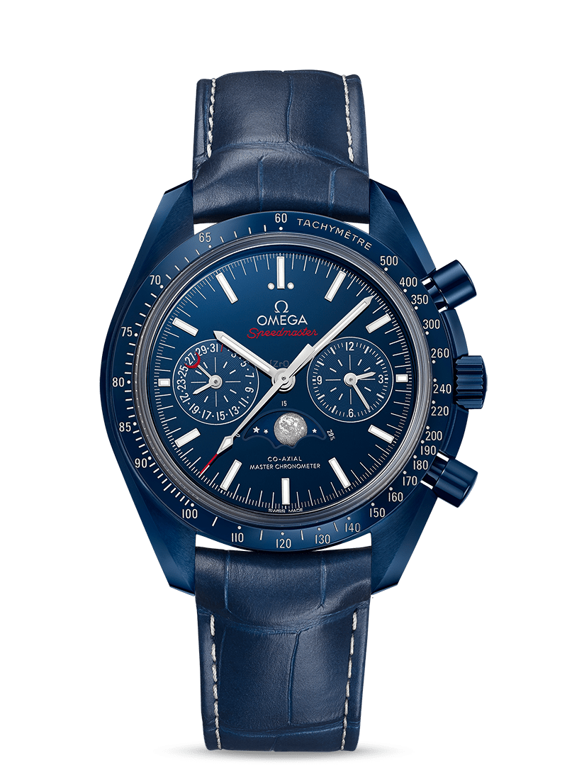 Omega MOONWATCH CO-AXIAL MASTER CHRONOMETER MOONPHASE CHRONOGRAPH 44.25 MM Blue Side Of The Moon Blue ceramic on leather strap - 304.93.44.52.03.001