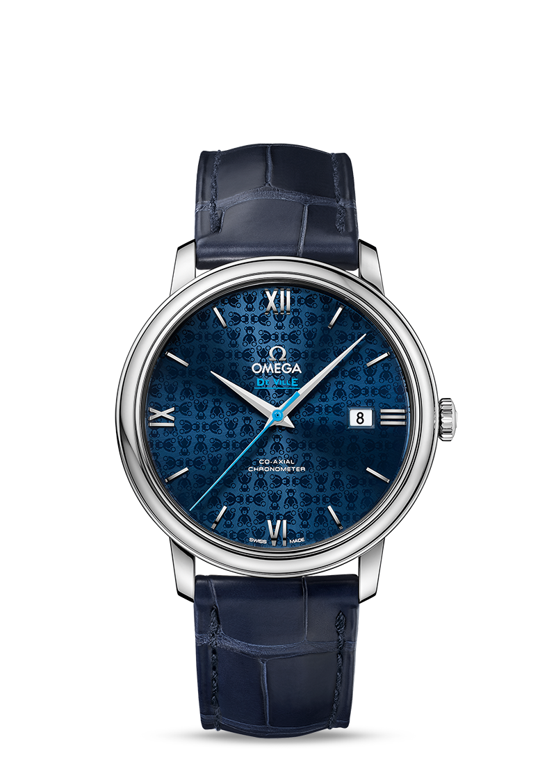Omega De Ville PRESTIGE CO-AXIAL Blue Dial 39.5 MM Orbis Steel on leather strap - 424.13.40.20.03.003