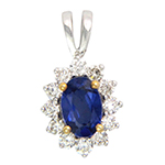 Popley Colours Of Joy Diamond Pendant in White Gold with Colour Stone