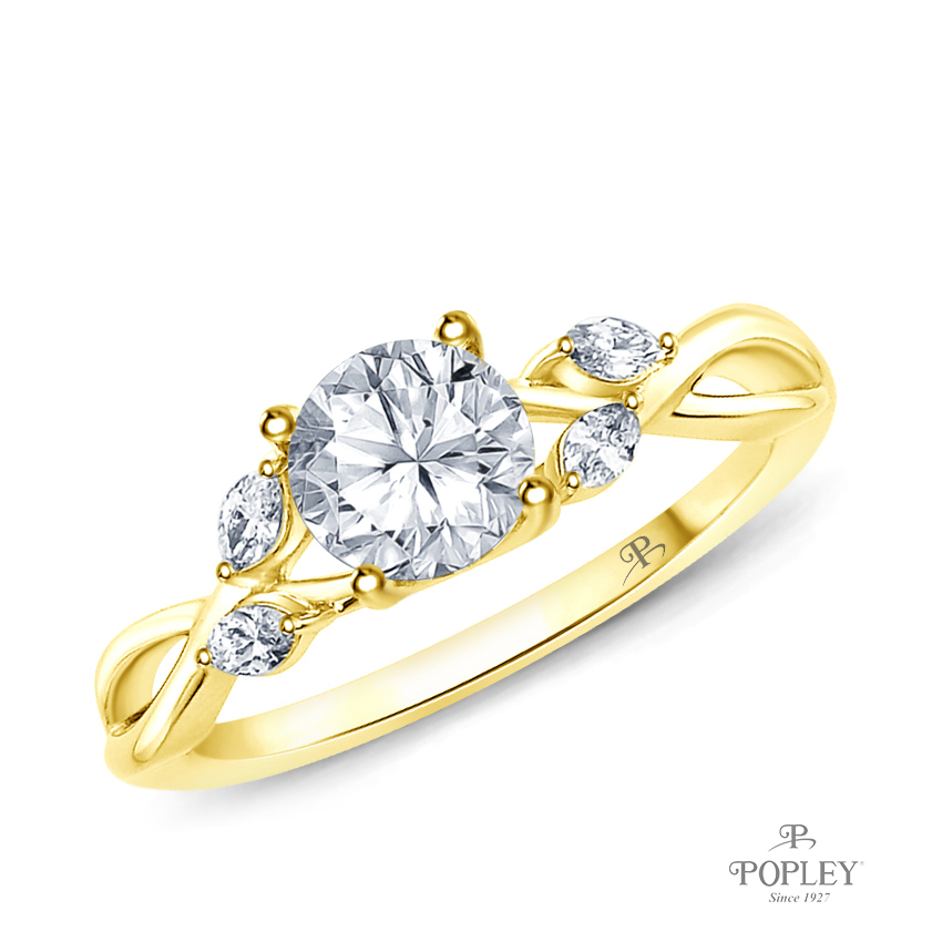 Leaves & Vine Style Marquise Bud Diamond Engagement Ring Semi Mount in Yellow Gold