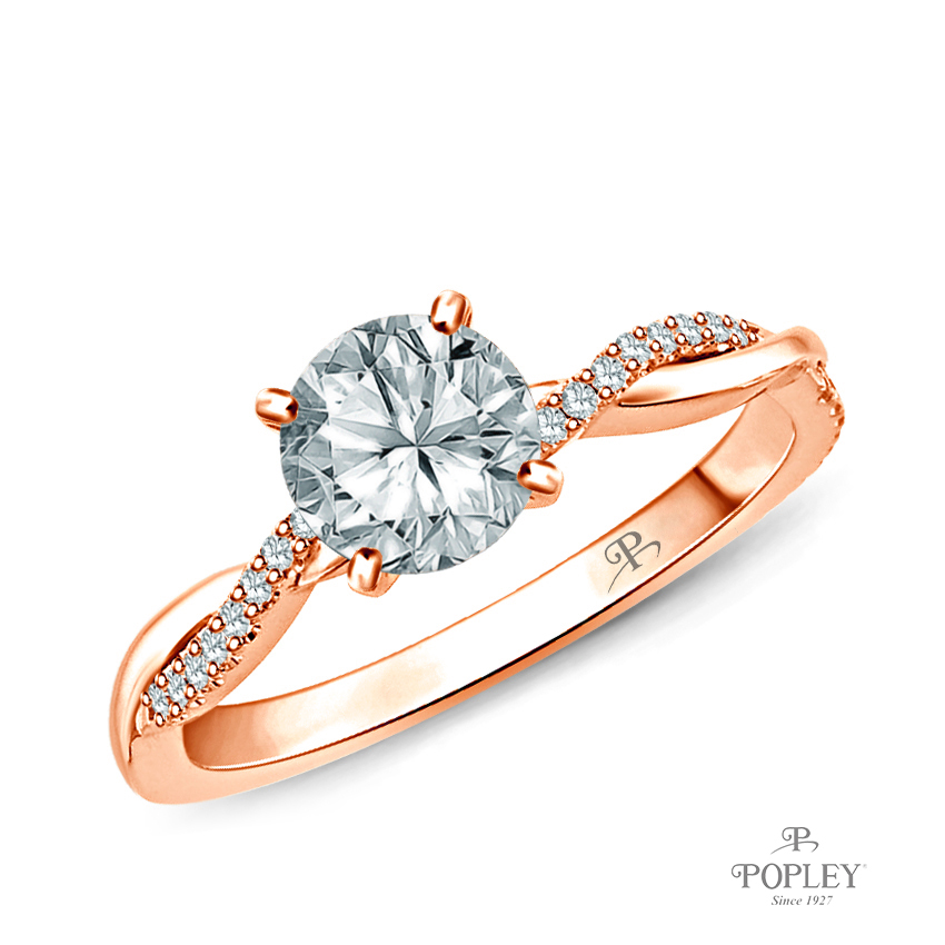 Twisted Vine Diamond Engagement Ring Semi Mount in Rose Gold