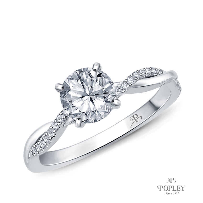 Twisted Vine Diamond Engagement Ring Semi Mount in White Gold