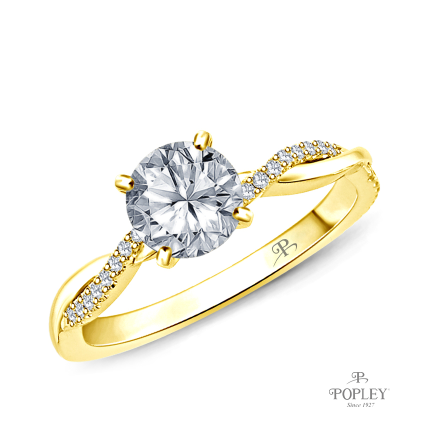 Twisted Vine Diamond Engagement Ring Semi Mount in Yellow Gold