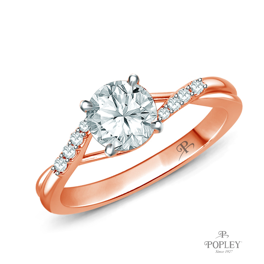 Delicate Tapered Pave Set Engagement Ring Semi Mount in Rose Gold