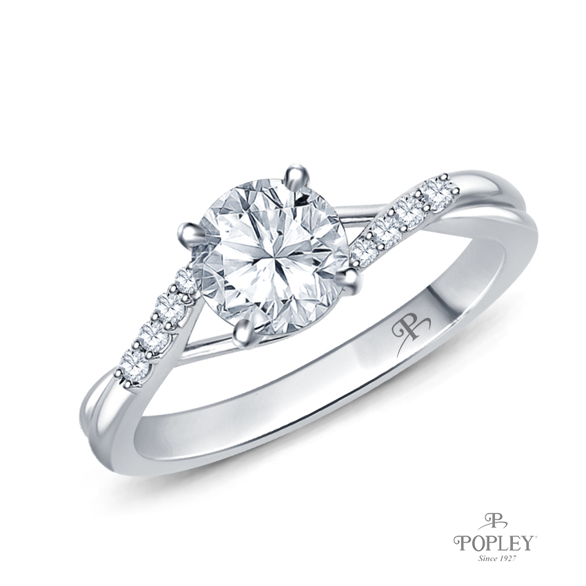 Delicate Tapered Pave Set Engagement Ring Semi Mount in White Gold