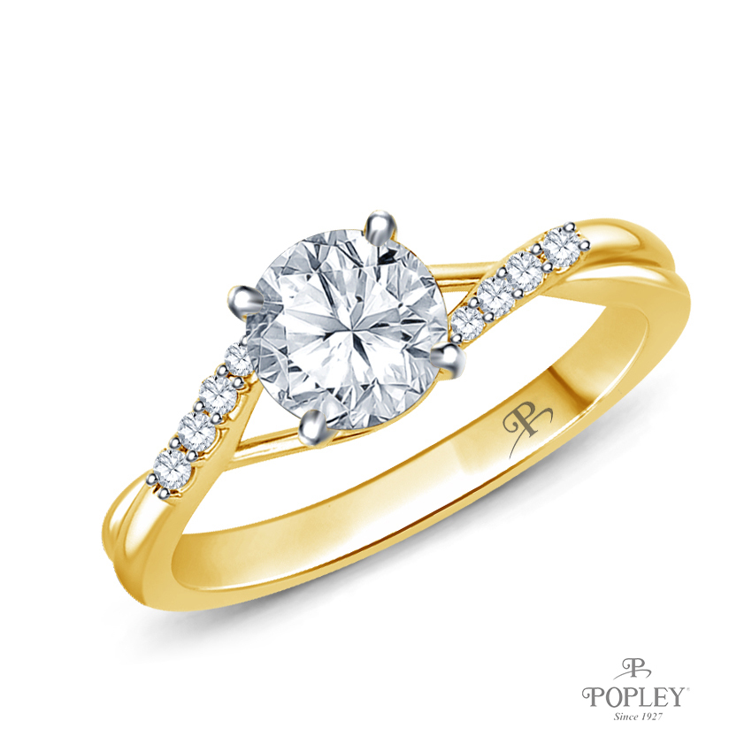 Delicate Tapered Pave Set Engagement Ring Semi Mount in Yellow Gold