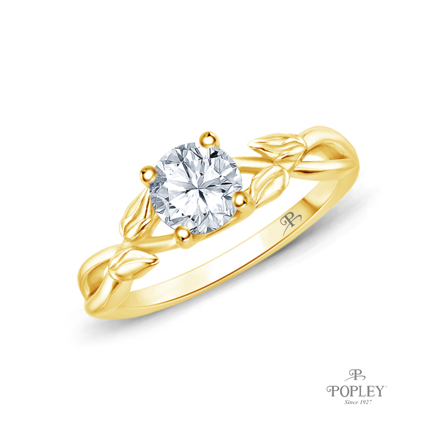 Interwine Budding Style Nature Inspired Solitaire Ring Semi Mount in Yellow Gold