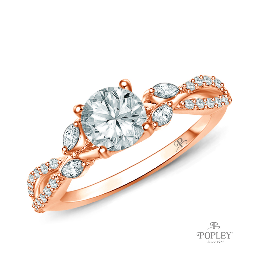 A Vine Inspired Marquise and Round Bud Diamond Engagement Ring Semi Mount in Rose Gold