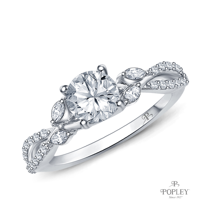 A Vine Inspired Marquise and Round Bud Diamond Engagement Ring Semi Mount in White Gold