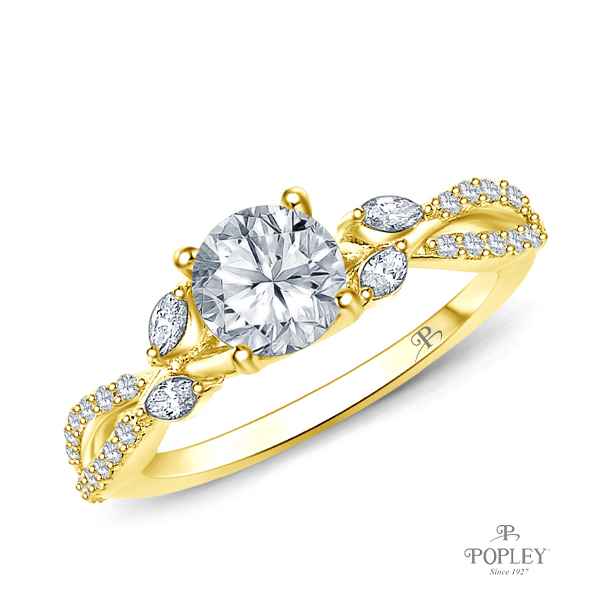 A Vine Inspired Marquise and Round Bud Diamond Engagement Ring Semi Mount in Yellow Gold
