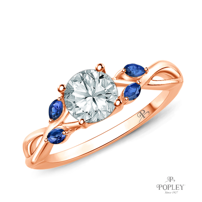 Marquise Blue Sapphire Accents - Leaves and Vine Style Engagement Ring Semi Mount in Rose Gold