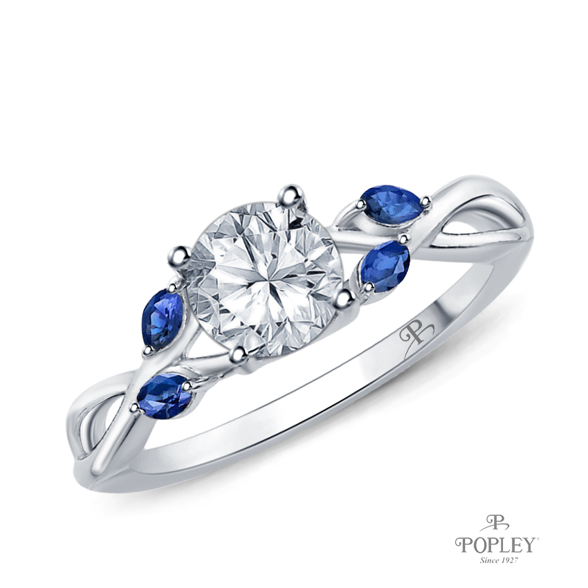 Marquise Blue Sapphire Accents - Leaves and Vine Style Engagement Ring Semi Mount in Platinum