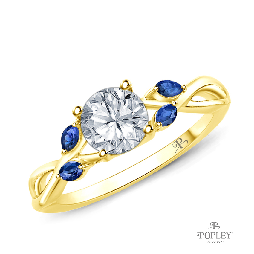 Marquise Blue Sapphire Accents - Leaves and Vine Style Engagement Ring Semi Mount in Yellow Gold