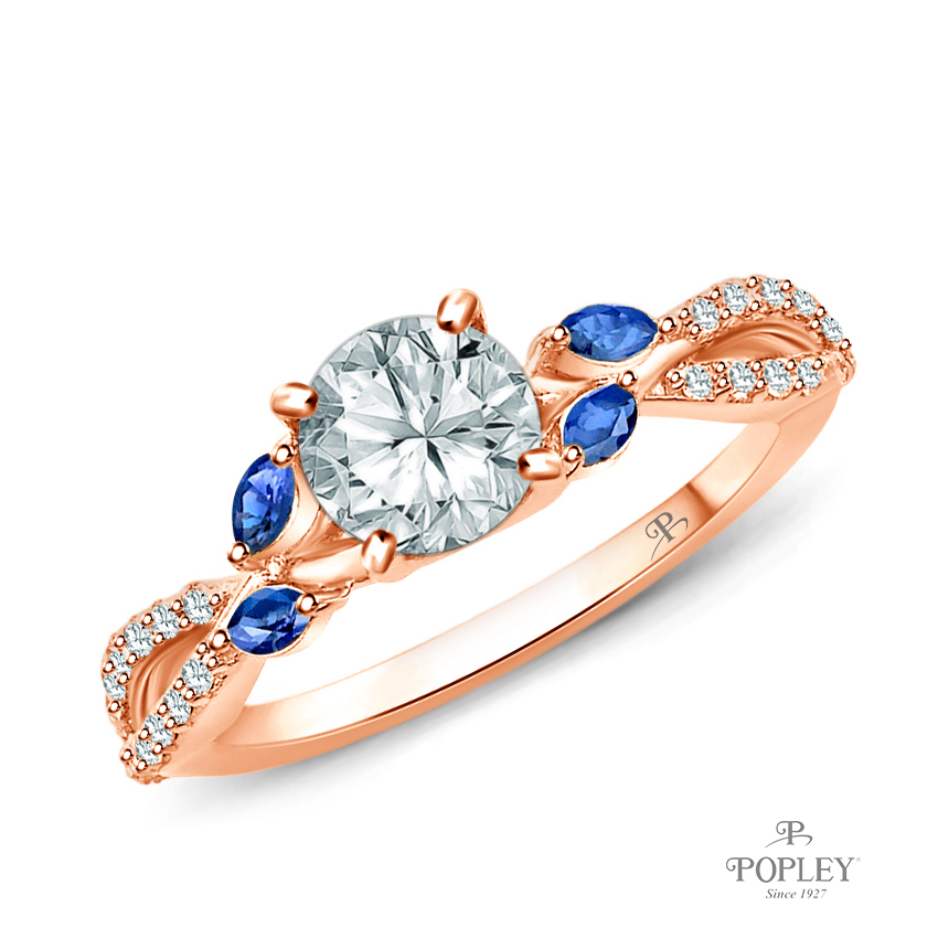 A Nature Inspired Leaves Marquise Blue Sapphire & Round Diamond Ring Semi Mount in Rose Gold