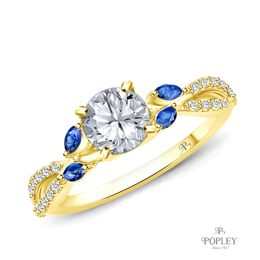 A Nature Inspired Leaves Marquise Blue Sapphire & Round Diamond Ring Semi Mount in Yellow Gold