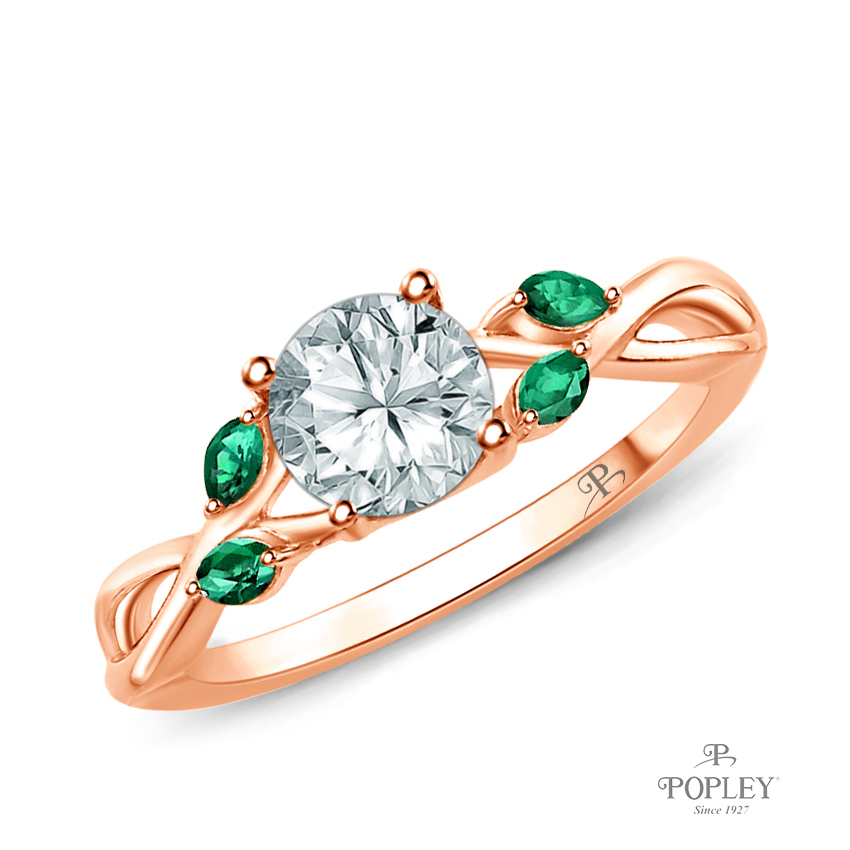 Marquise Green Emerald Accents - Leaves and Vine Style Engagement Ring Semi Mount in Rose Gold
