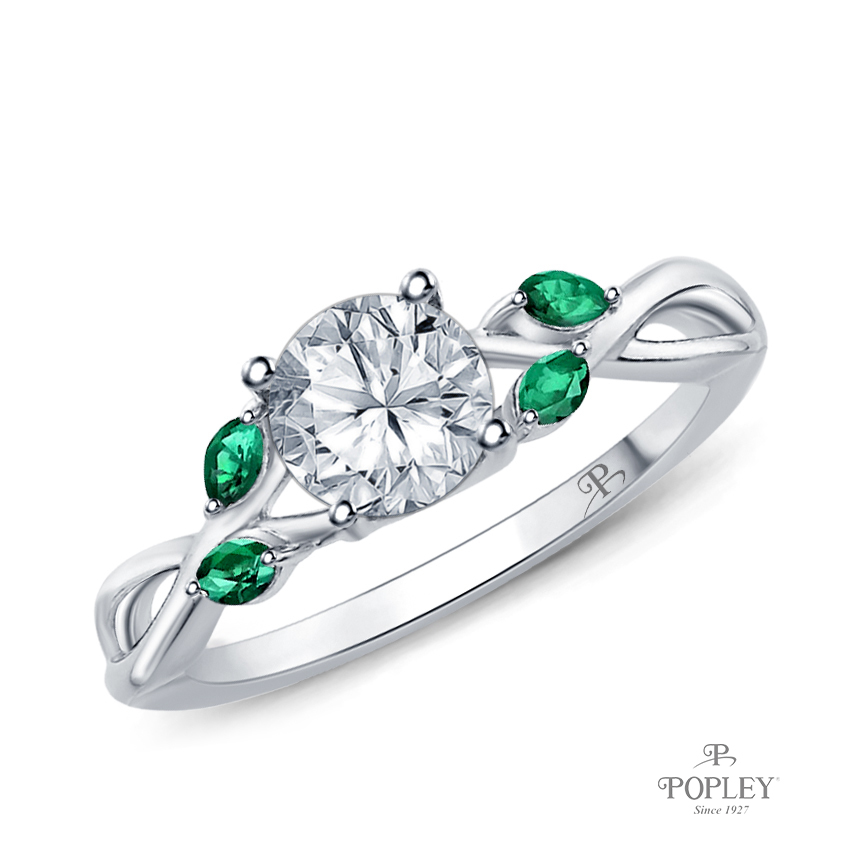 Marquise Green Emerald Accents - Leaves and Vine Style Engagement Ring Semi Mount in Platinum