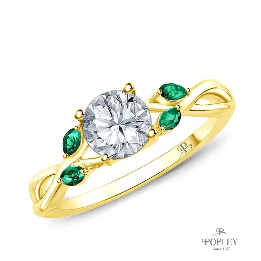 Marquise Green Emerald Accents - Leaves and Vine Style Engagement Ring Semi Mount in Yellow Gold