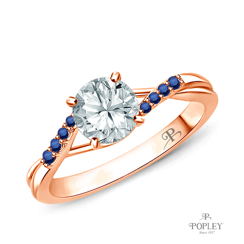 Delicate Tapered Pave Sapphire Engagement Ring Semi Mount in Rose Gold