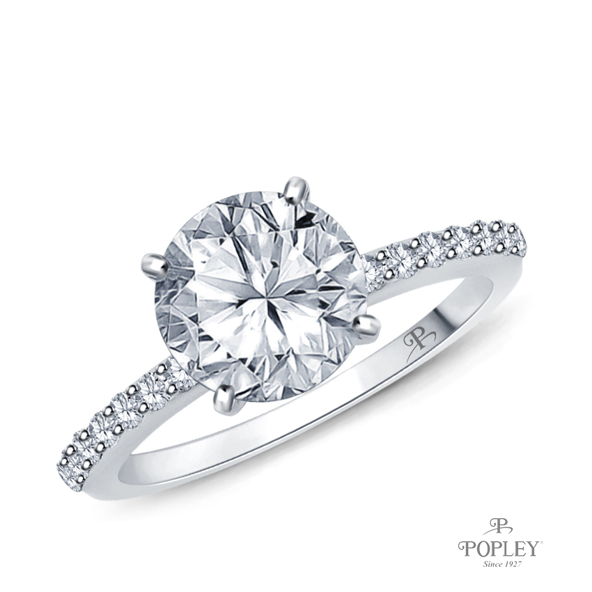 Half Way Accents Diamond Engagement Ring Semi Mount in Platinum