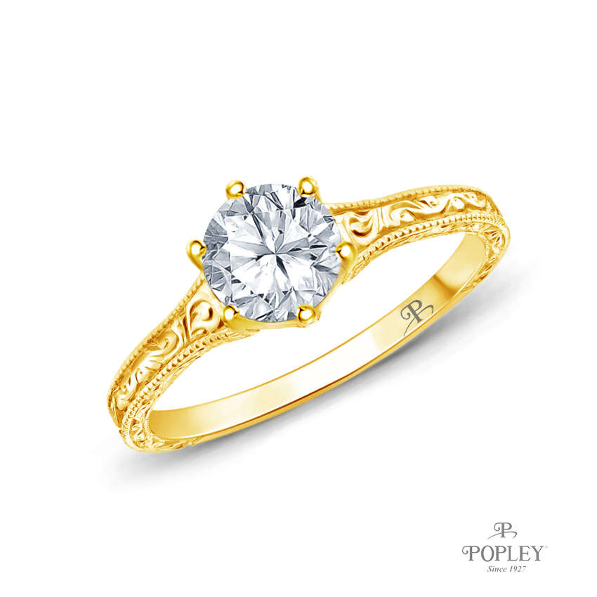 A Truly Vintage Hand Engraved Milgrain Engagement Setting Semi Mount in Yellow Gold